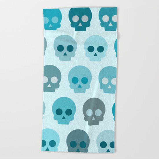 Colorful Skull Cute Pattern II Beach Towel