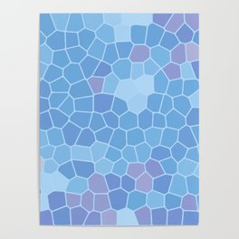 Ice Blue Abstract Blocks Tile Pattern Background Poster