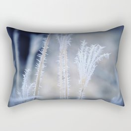 Cold Hoarfrost on the weeds in the winter Rectangular Pillow