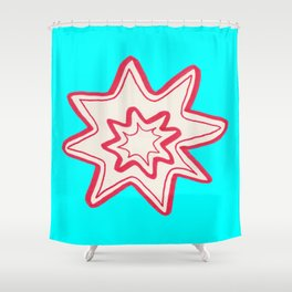POW -  (Bright Blue) Shower Curtain