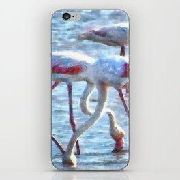 Flamingos Eating Watercolor iPhone Skin