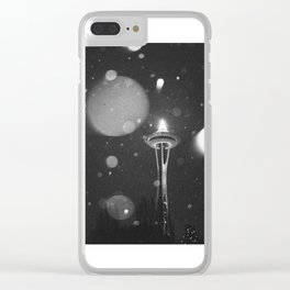 Space Needle in the rain Clear iPhone Case