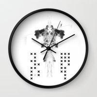fear Wall Clocks featuring Fear by Anna Pietrzak