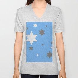 SIMPLY GREY & WHITE STARS ON BABY BLUE DESIGN Unisex V-Neck