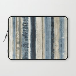 Distressed Blue and White Watercolor Stripe Laptop Sleeve