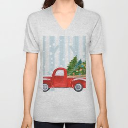Christmas Red PickUp Truck on a Snowy Road Unisex V-Neck