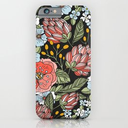 Retro Vintage Floral Arrangement On Black Background iPhone Case