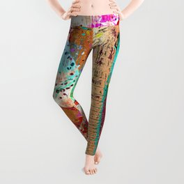 African Elephant Family Painting Leggings