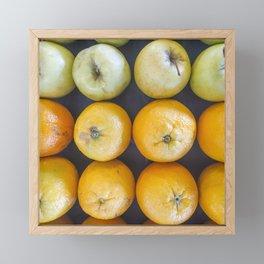 Pallet of oranges and apples Framed Mini Art Print