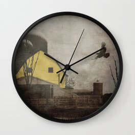 Yellow Barn on Sepia Background With Birds Flying A170 Wall Clock