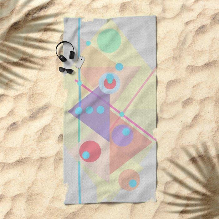 Geometric pastel 01 Beach Towel