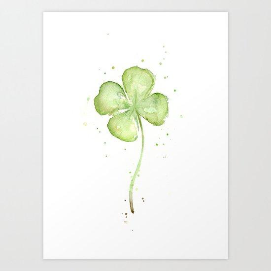 Clover Four Leaf Lucky Charm Green Clovers Art Print