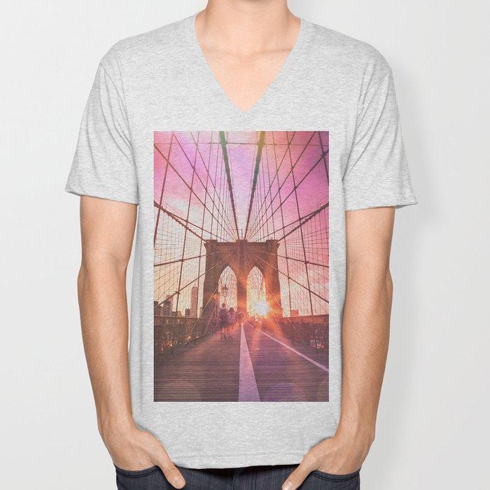 NYC Brooklyn Bridge Unisex V-Neck