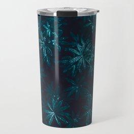 Deep Blue Zen Water Lilies Travel Mug