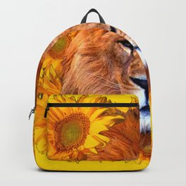 YELLOW TAWNY AFRICAN LION & GOLDEN SUNFLOWERS Backpack