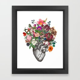 Anatomical heart and flowers Framed Art Print