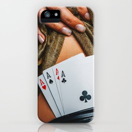 Sexy lady in golden color dress with poker cards combination over black stocking legs iPhone Case