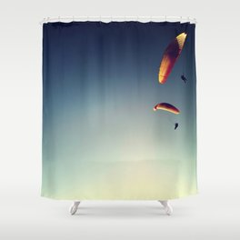 two paragliders from above Shower Curtain