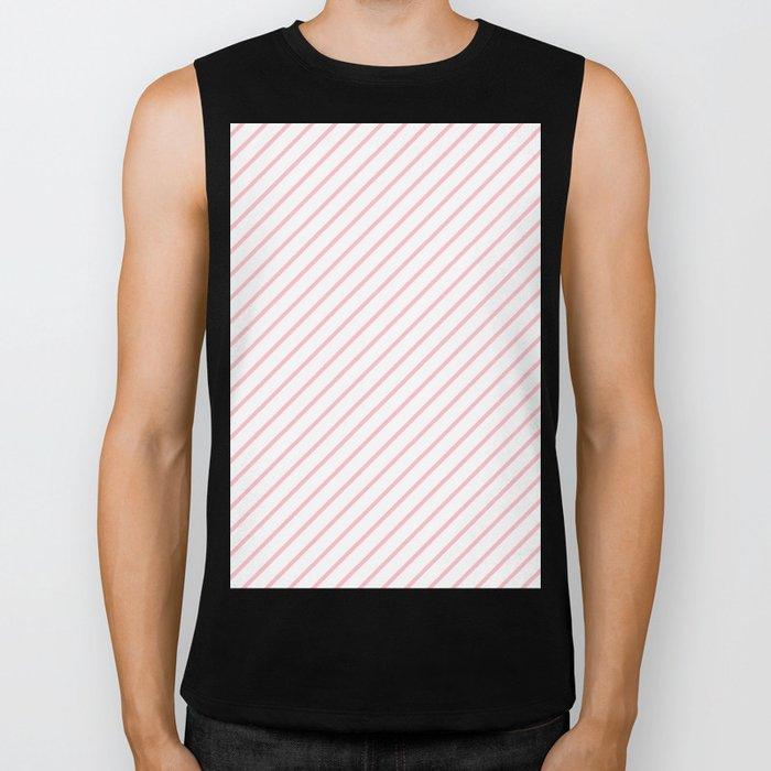 Diagonal Lines (Pink/White) Biker Tank