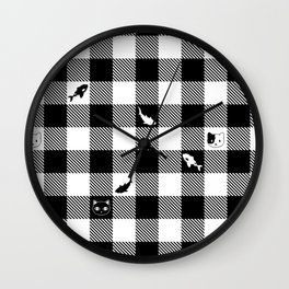 Black and White Checkered Animals Wall Clock