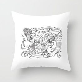 Simurgh from the Bestiary Coloring Book Throw Pillow