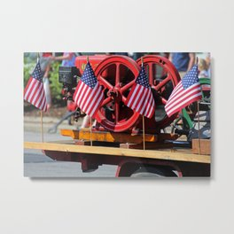 Flags on a Fire Truck Metal Print