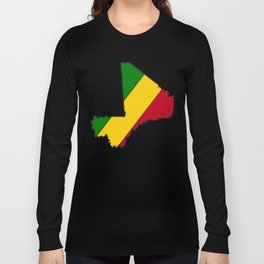 Mali Map with Malian Flag 1 Long Sleeve T-shirt