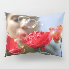Red poppies fun bubbles and beautiful Russian outdoor girl Pillow Sham