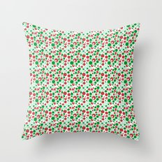 Circle Pattern Holiday Red Green and White Throw Pillow