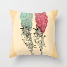 Bouffant Birds Throw Pillow