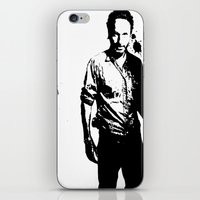 rick grimes iPhone & iPod Skins featuring Rick Grimes by Black And White Store