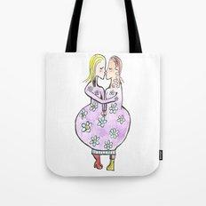 Kissing women in a flower dress Tote Bag