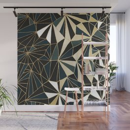 New Art Deco Geometric Pattern - Emerald green and Gold Wall Mural