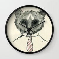 mr fox Wall Clocks featuring Mr. Fox by Shiroshi