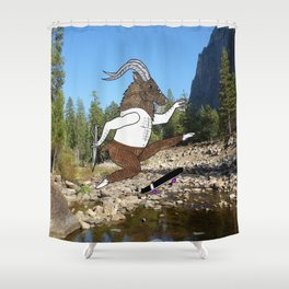 Baphomet's sixth failed attempt over a creek in Yosemite, which resulted in him focusing his board. Shower Curtain