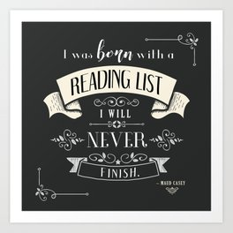 Born With a Reading List - Charcoal Art Print