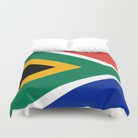 south africa Duvet Covers featuring National flag of the Republic of South Africa - Authentic by LonestarDesigns2020 is Modern Home Decor