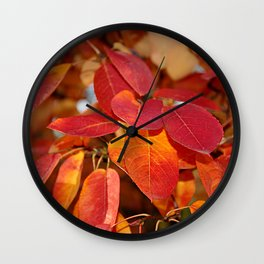 Autumn Glory - Juneberry leaves, Amelanchier Wall Clock