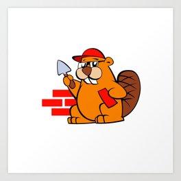 A beaver cartoon building brick wall Art Print