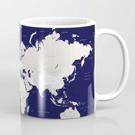 "Navy blue and cream world map, ""Austin"" Coffee Mug"