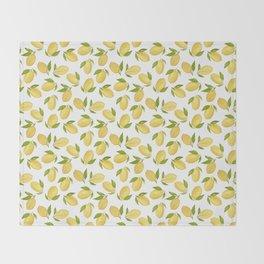 Watercolor lemon pattern Throw Blanket