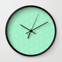 Mint Daisy Graphic  Design Pattern Wall Clock