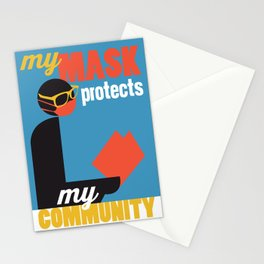 My Mask Protects My Community - Blue Stationery Cards