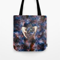 wallet Tote Bags featuring SPACE wallet by marzesu collages