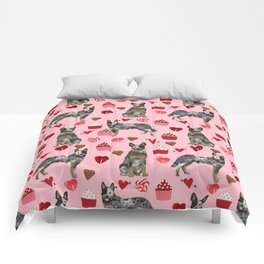 Australian Cattle Dog blue heeler valentines day cupcakes hearts love dog breed Comforters