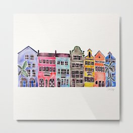 Rainbow Row – Charleston Metal Print