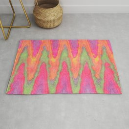 Bright Colorful Funky Retro Zigzag Waves Pattern Rug