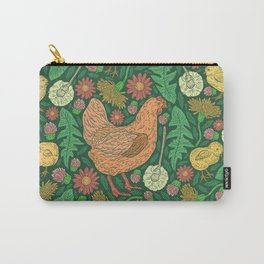 Orange hen with yellow chickens and dandelions on green background Carry-All Pouch
