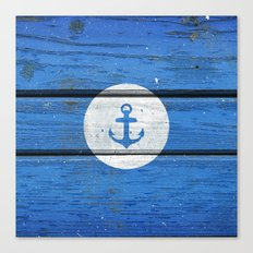 Nautical White Anchor on Vintage Blue Wood Panels Canvas Print