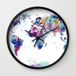 Coloful Splatter World Map Wall Clock